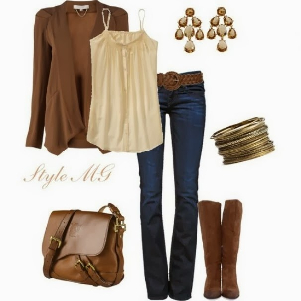 Brown cardigan, jeans, long brown boots and handbag combination for fall
