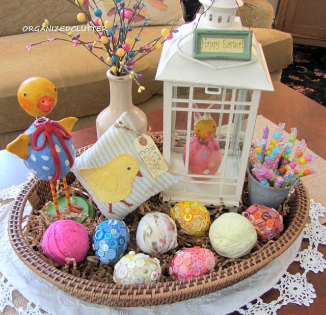 Easter Basket Vignette www.organizedclutterqueen.blogspot.com