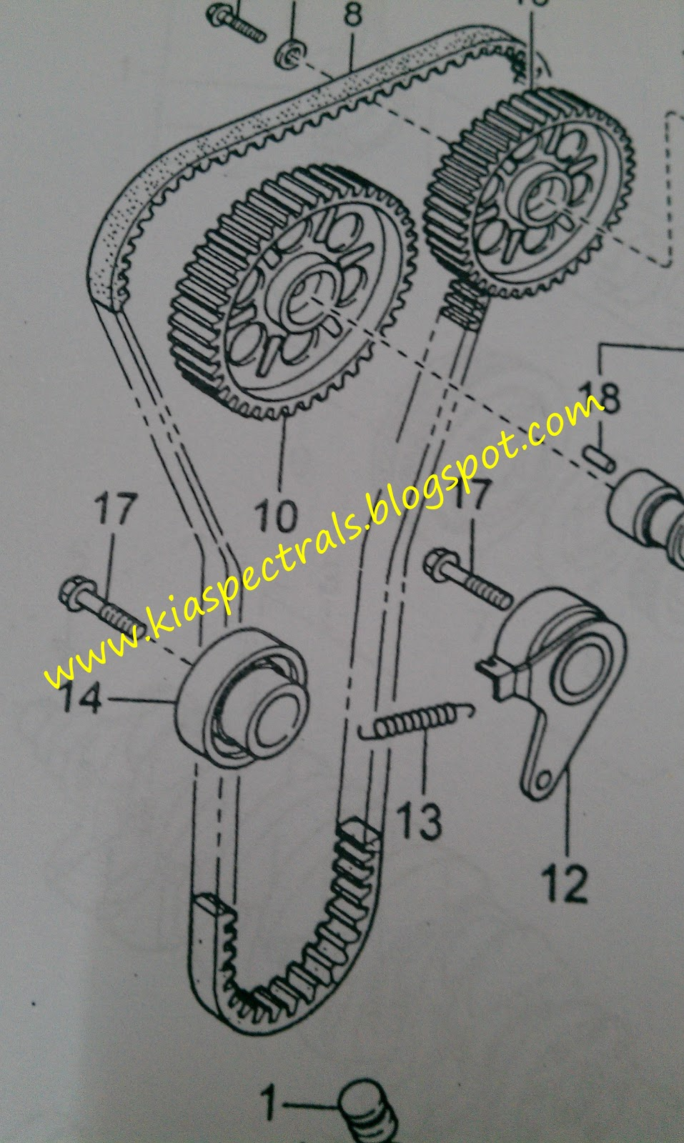 Kia Spectra Important Of Replacing Genuine Timing Belt Pulleys Diagram Above Shows The Assemble Pleased Beware When Choosing Right And Must Be Genuineif Not Ure Ending With A Broken Or
