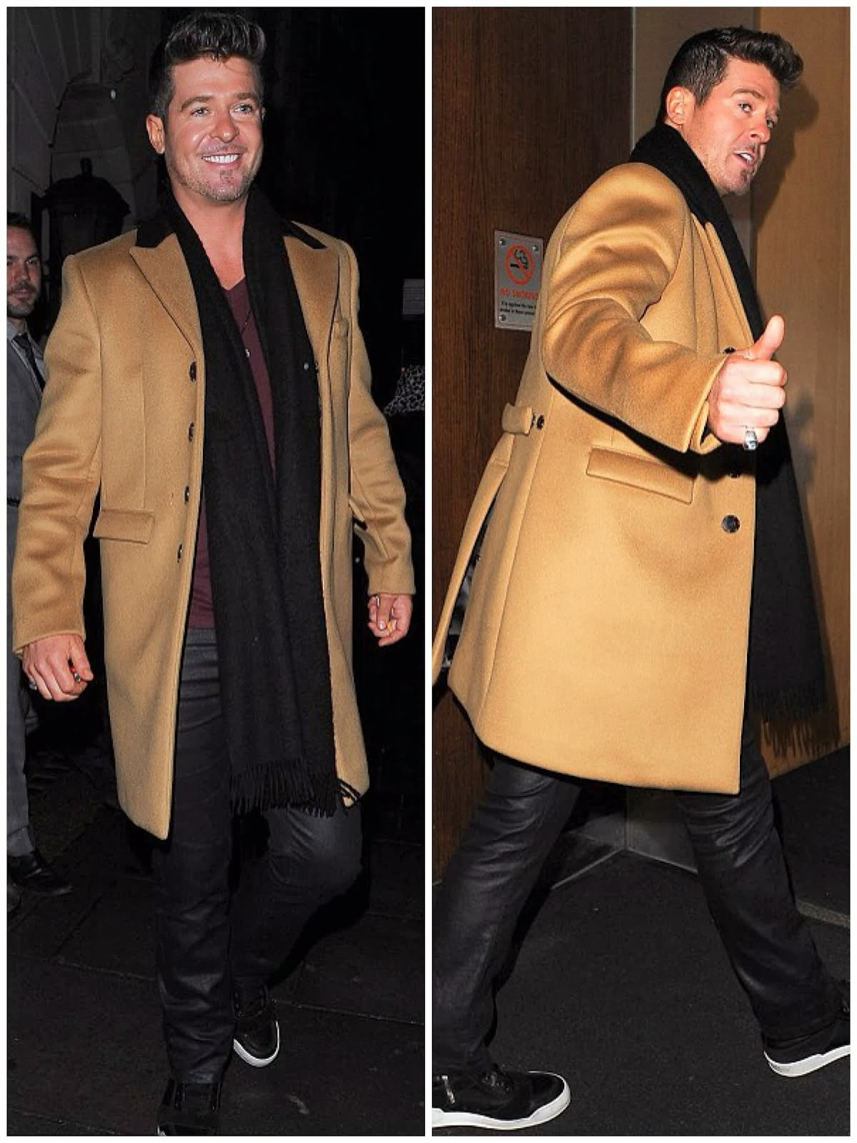 00O00 Menswear Blog: Robin Thicke in Burberry Prorsum Slim-Fit Bonded Cashmere-Blend Overcoat - Nobu Berkeley, London November 2013
