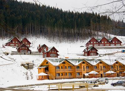 Casas de madera en el bosque durante el invierno