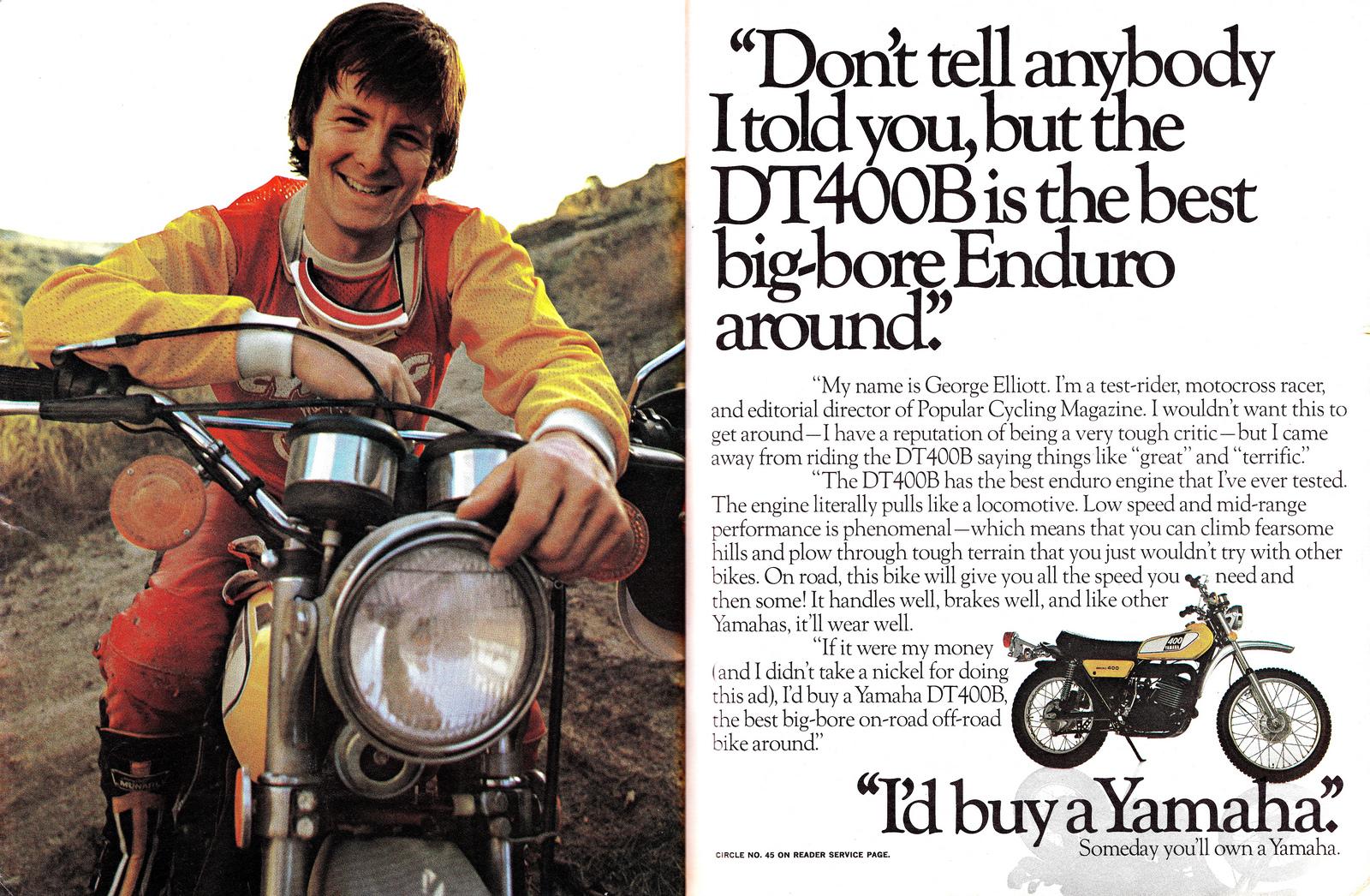 Racing Caf U00e8  Vintage Brochures  Yamaha Dt 400b 1976  Usa