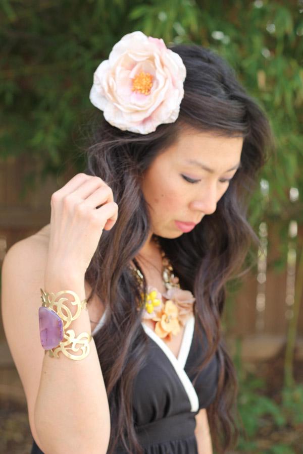 style of sam, black and white halter dress, jcrew glitter clutch, h&m flower, bottega venetta heels