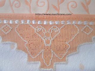 Kelebek dantelli havlu kenarı