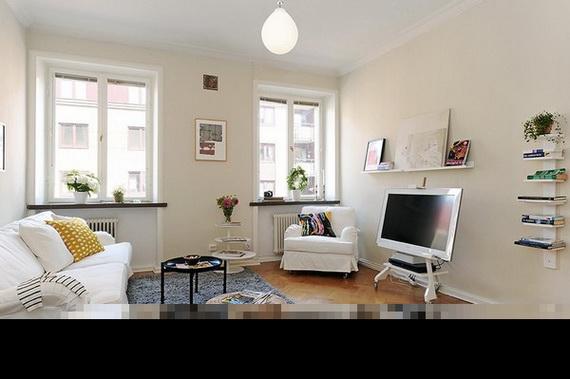 d licats petit appartement avec une conception pratique. Black Bedroom Furniture Sets. Home Design Ideas