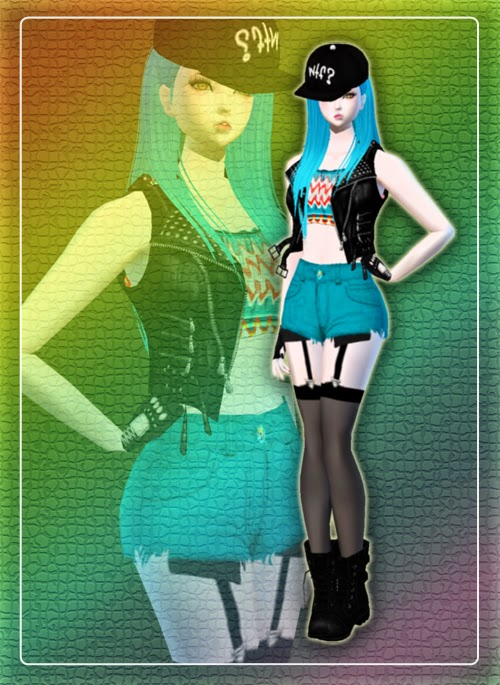 IMVU Casual Black U0026 Blue Korean Rock Star Girl Outfit | Best Imvu Outfits