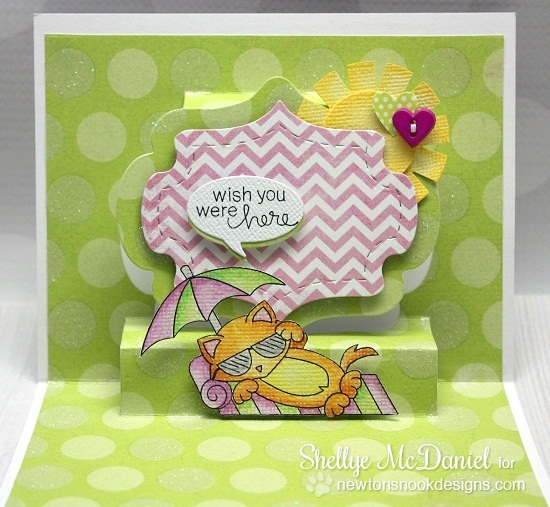 Pop-up card by Shellye McDaniel for Newton's Nook Designs | Newton's Summer Vacation Stamp set