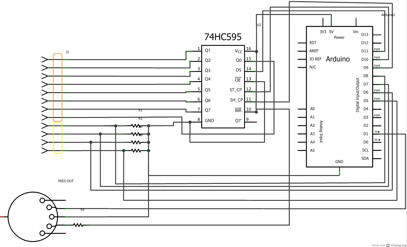 Code Tinker Hack How To Turn Piano Toy Into Midi Keyboard Using Effects Looper Wiring Diagram Ive End Up With Relatively Simple Schematics Below