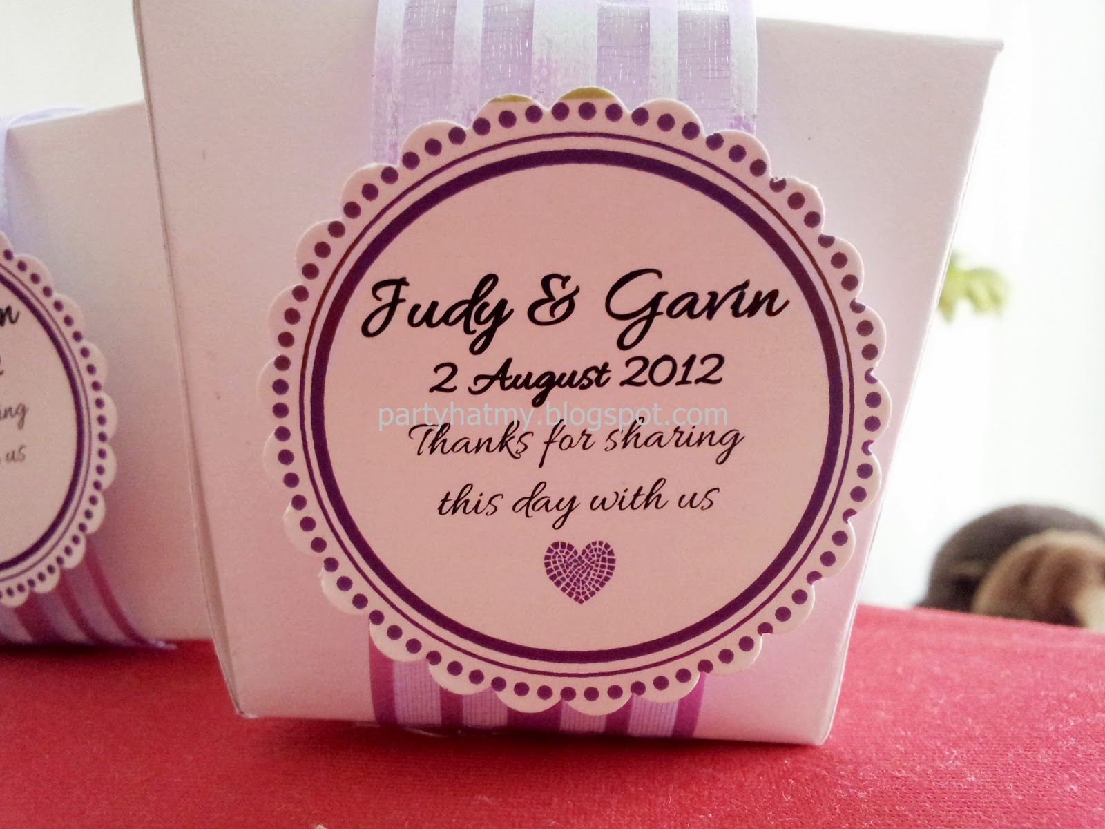 Party Hat: Wedding Favor: Judy & Gavin\'s Takeout Box Favor