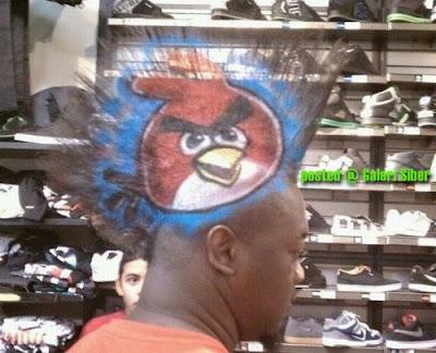 fanatik angry birds sanggup lukis gambar angry birds pada rambut