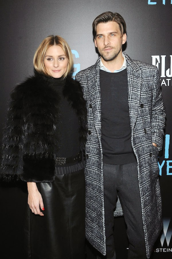 Olivia Palermo and Johannes Huebl wearing Bally Fall Winter 2014 Prince Of Wales check coat to Big Eyes New York Premiere at Museum of Modern Art 16th December 2014