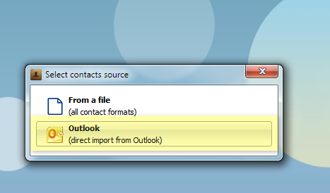 select contact type to import to iphone: outlook