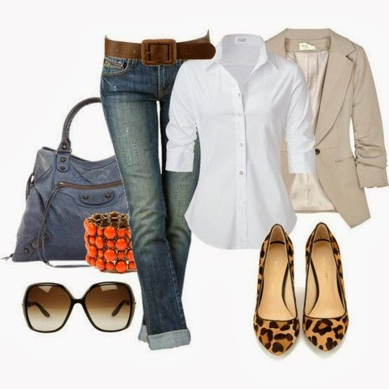 White shirt, jeans, jacket, hand bag, cheetah skin high heels and sunglasses for fall
