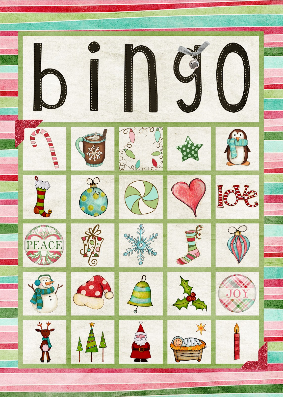Adaptable image inside holiday bingo printable