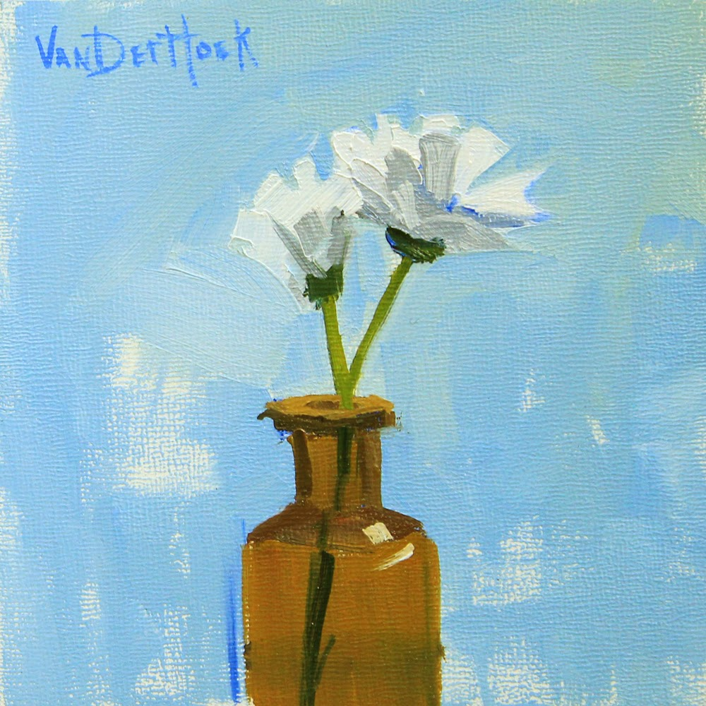 Side By Side Original Oil Painting Of White Flowers In A Bottle