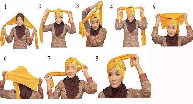 Contoh Tutorial Hijab Modern Pashmina Turban