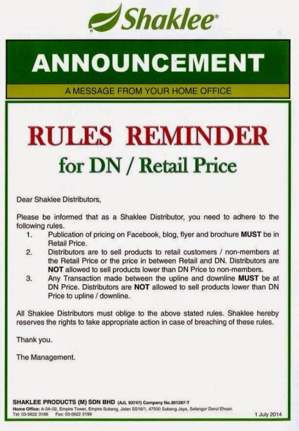 ~ Rules Reminder by Shaklee ~