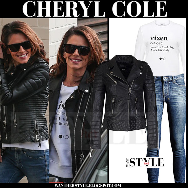 Cheryl Cole in black leather boda skins jacket and skinny jeans what she wore streetstyle