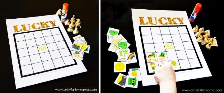 Free Printable St Patrick's Day Bingo at artsyfartsymama.com #StPatricksDay #freeprintable #printable #bingo
