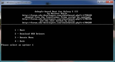 Command Propmt Console for Rooting Galaxy S3 Verizon i535 and Install Clockworkmod