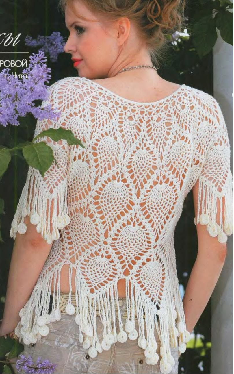 Con C de Crochet: HERMOSA BLUSA DE PIÑAS EN BLANCO