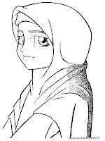 Gambar Mewarnai Remaja Muslim Memakai Jilbab