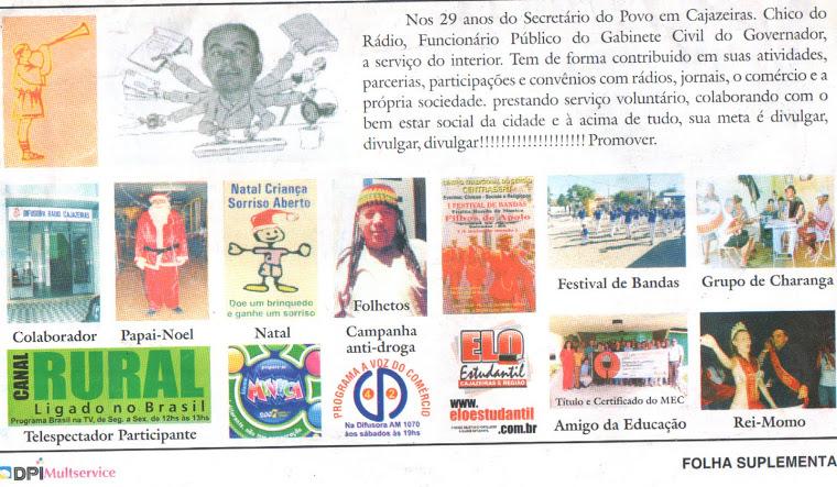 ATIVIDADES  DE CHICO DO RADIO AUTOR  DESTE BLOG