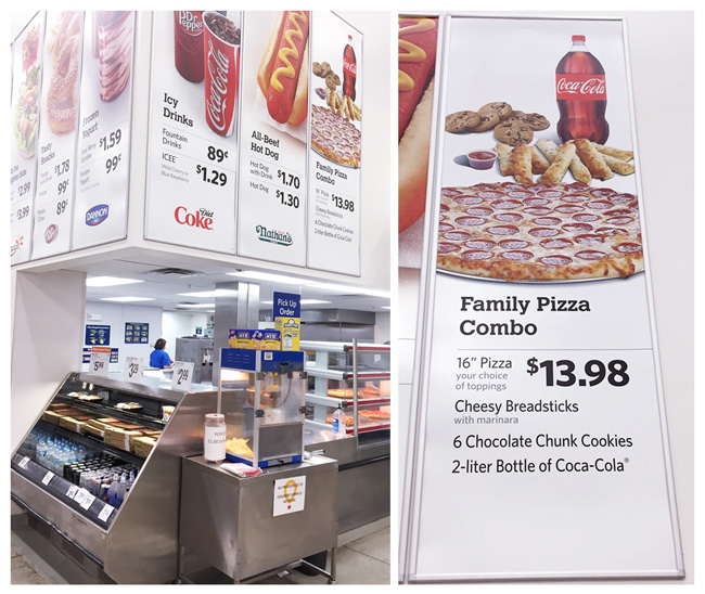 in store sam's club photo, sam's club cafe photo, pizza combo