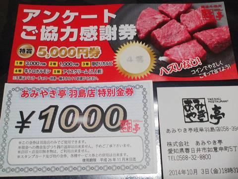 特別金券 あみやき亭羽島店