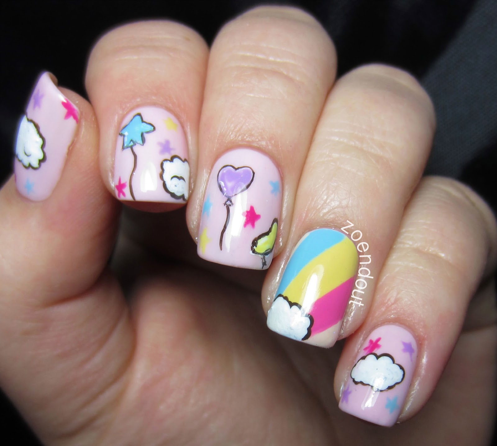 Zoendout Nails: Rainbows & Clouds & Balloons, Oh My!