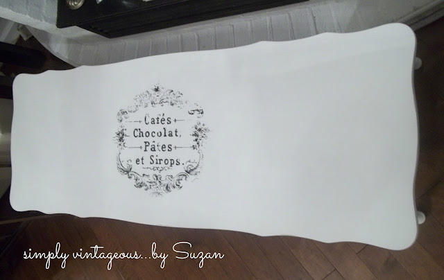shabby chic, coffee table, white, transferred graphic, graphics fairy, ascp,