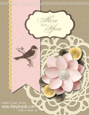 Here for You Digital Card featuring new Soft Blooms Embellishments
