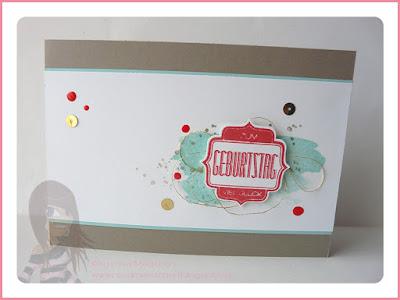 Stampin' Up!, Rosa Mädchen, Fürs Etikett, Etikettenstanze, Geburtstagskarte, InColor, Taupe, Aquamarin, Melonensorbet, Goldfaden, Flüsterweiß, Nagellackdots