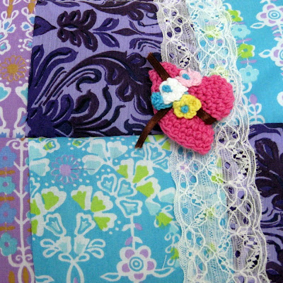Cosmetics pouch purple patchwork