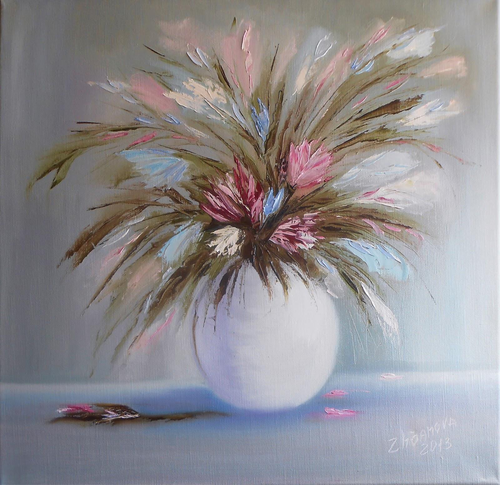 Oil paintings for interior digital print clipart for Modern flower paintings