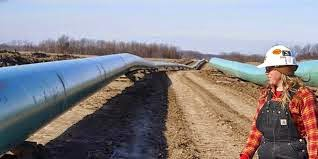 distribution of natural gas through large pipes.