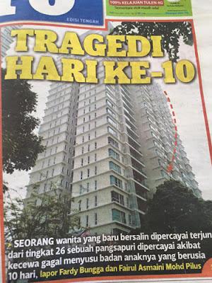 Kes Terjun Bangunan Ibu Berpantang 10 Hari