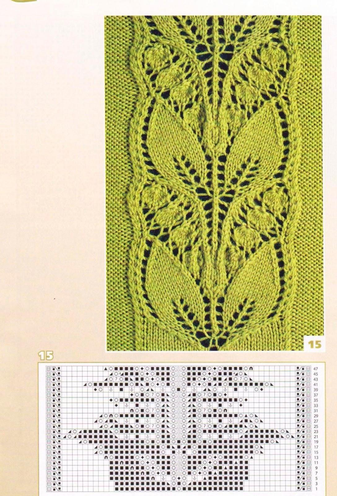 Вязание на спицах ажурный узор спицами листочки схемы 818