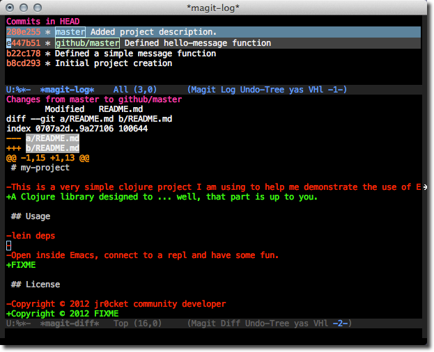 Emacs Magit - compare two commits using the short log - l l . =