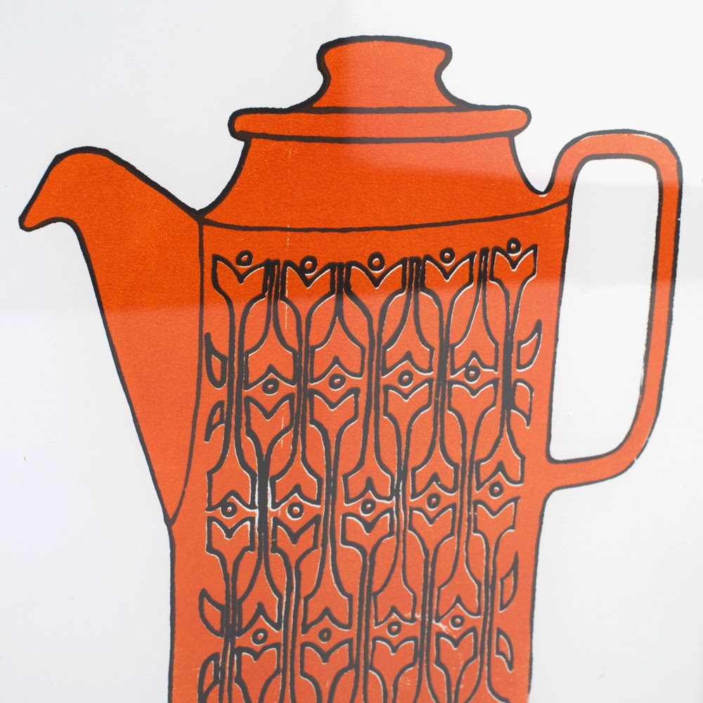 Vintage Style Hornsea Coffee Jug Screen Print A4 by Welaughindoors close up