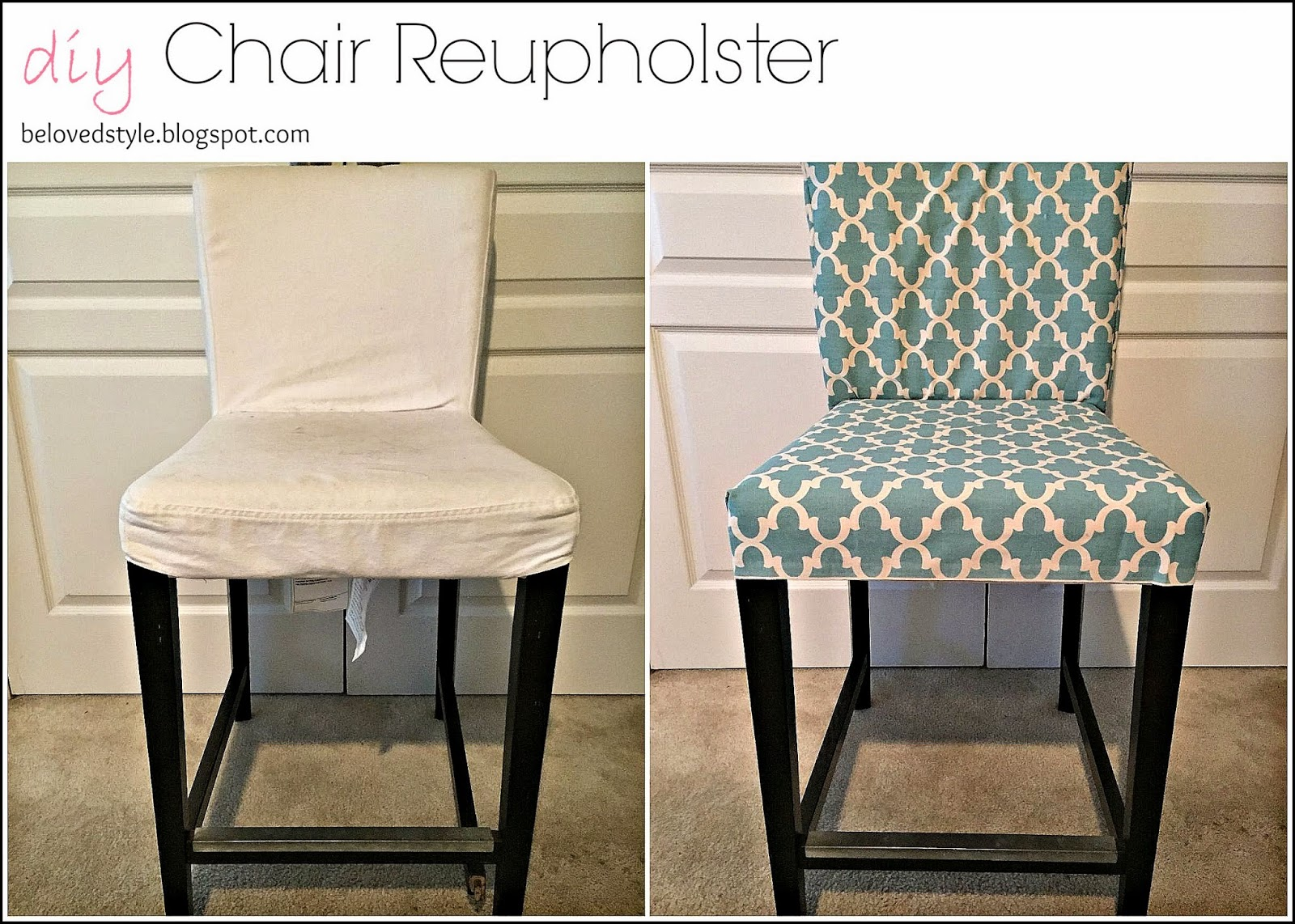 Bed Style: DIY Chair Reupholster: No Sew on