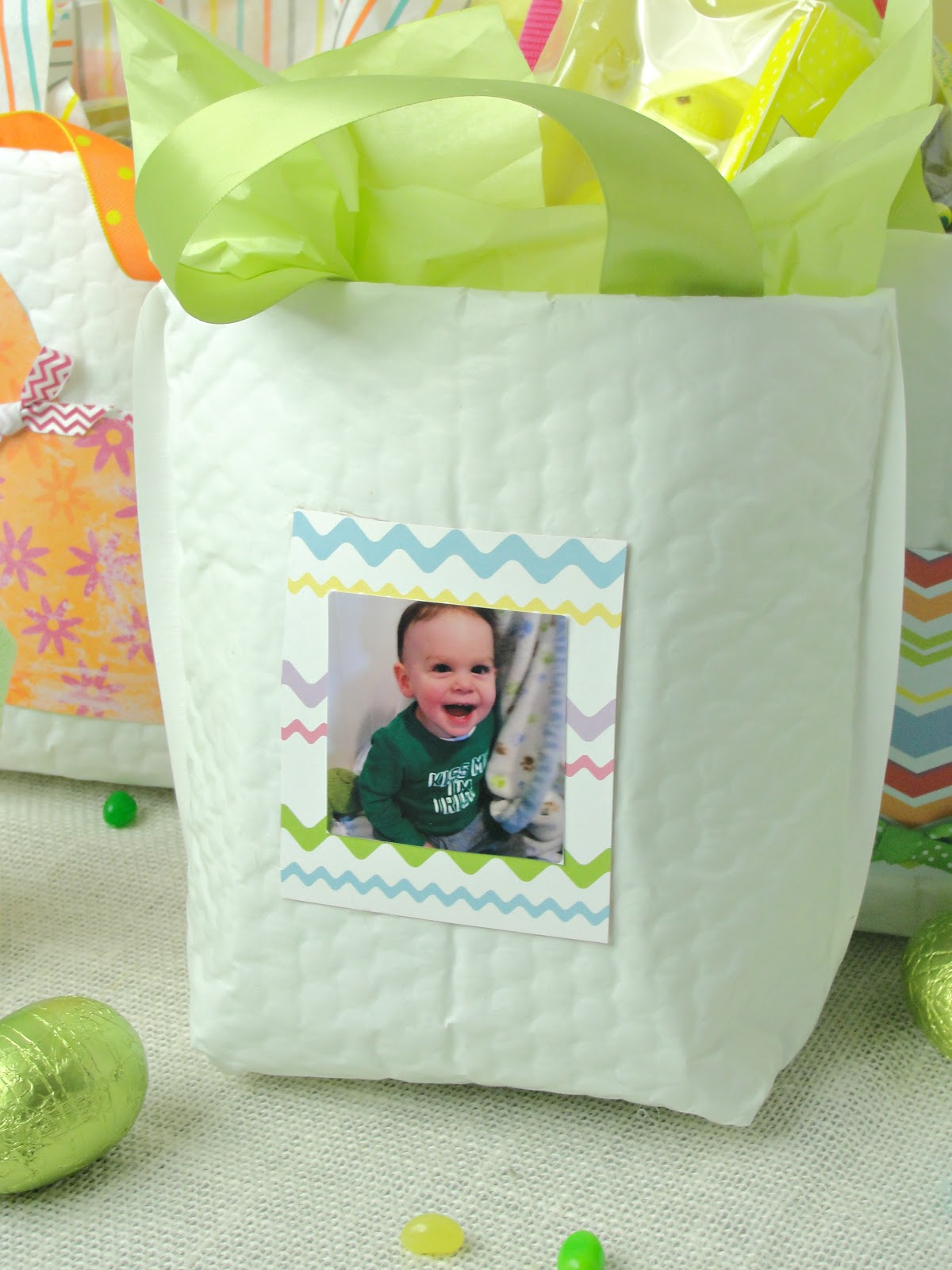 white gift bag made from a large padded envelope