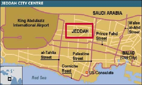Simple Map of Jeddah Saudi Arabia