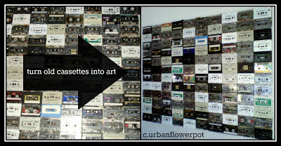 what to do with cassette tapes, recycle upcycle old tapes, art projects with cassettes, art that rocks