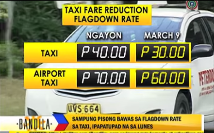 Taxi flag-down rates reduced by P10 starting Monday