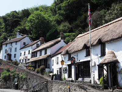 Thatched pub and traditional houses at Lynmouth Devon
