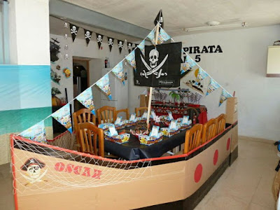 Pirate Boat Made of Cardboard Boxes.
