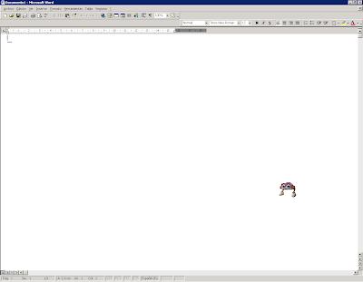 Word 2000 con un documento en blanco abierto y las tres barras de herramientas predeterminadas (Estándar, Formato y Dibujo). Estándar y Formato se hallan en dos filas diferentes
