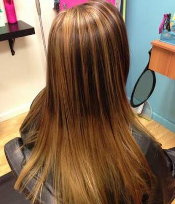 Warna caramel untuk layer rambut panjang wanita 2016
