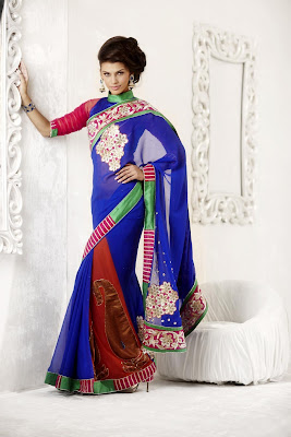 Contrast Coral and Royal Blue Designer Saree with Embroidery